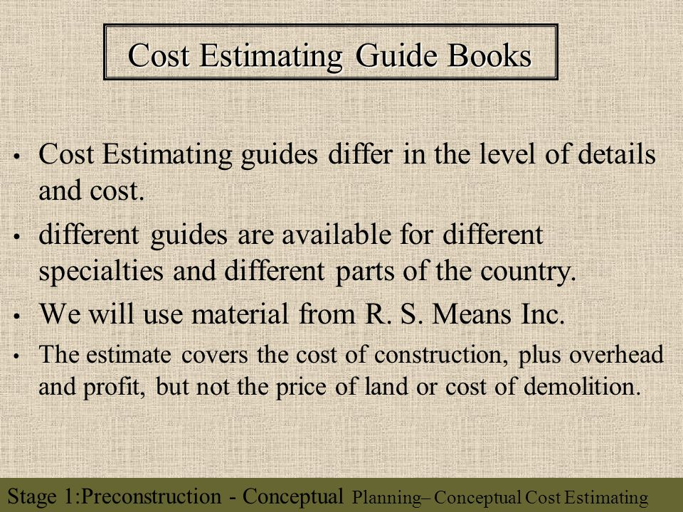 Conceptual Cost Estimating - ppt video online download