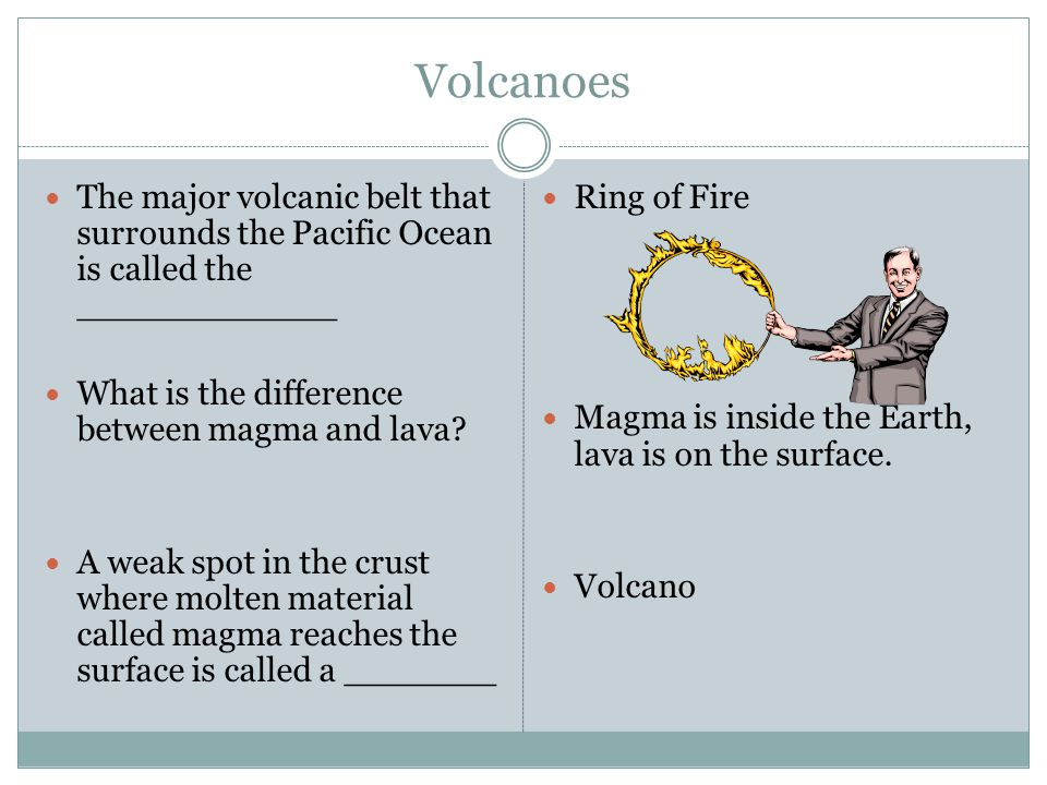 Volcanoes The major volcanic belt that surrounds the Pacific Ocean is called the ____________. What is the difference between magma and lava