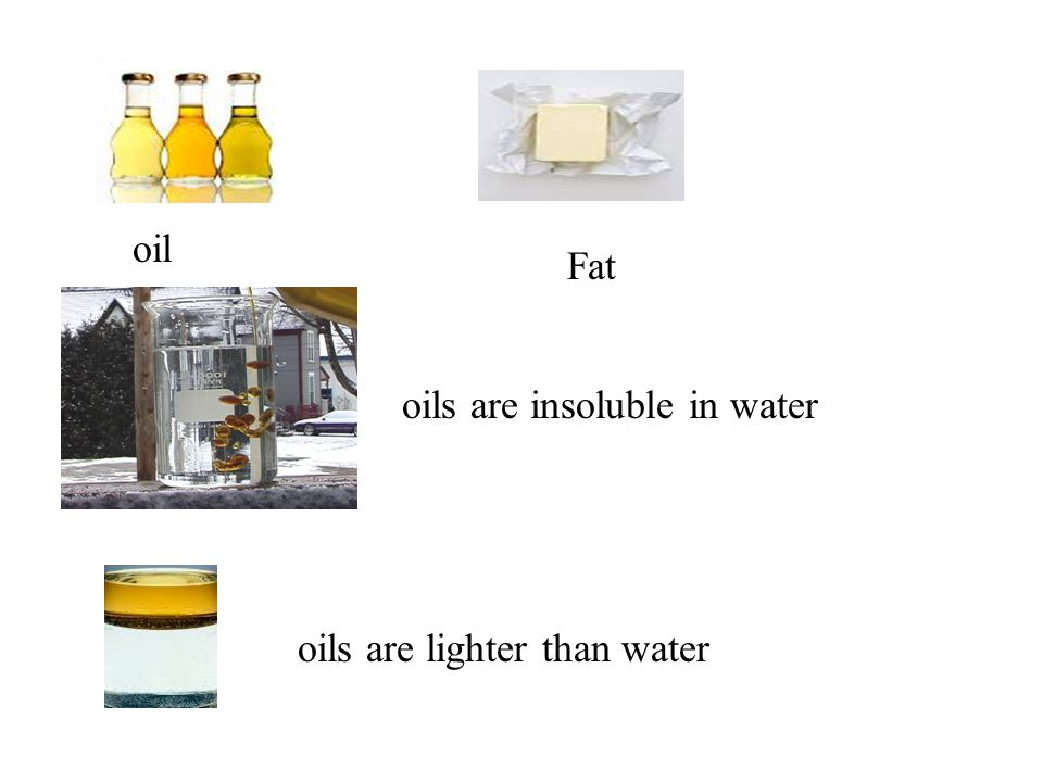 oil Fat oils are insoluble in water oils are lighter than water