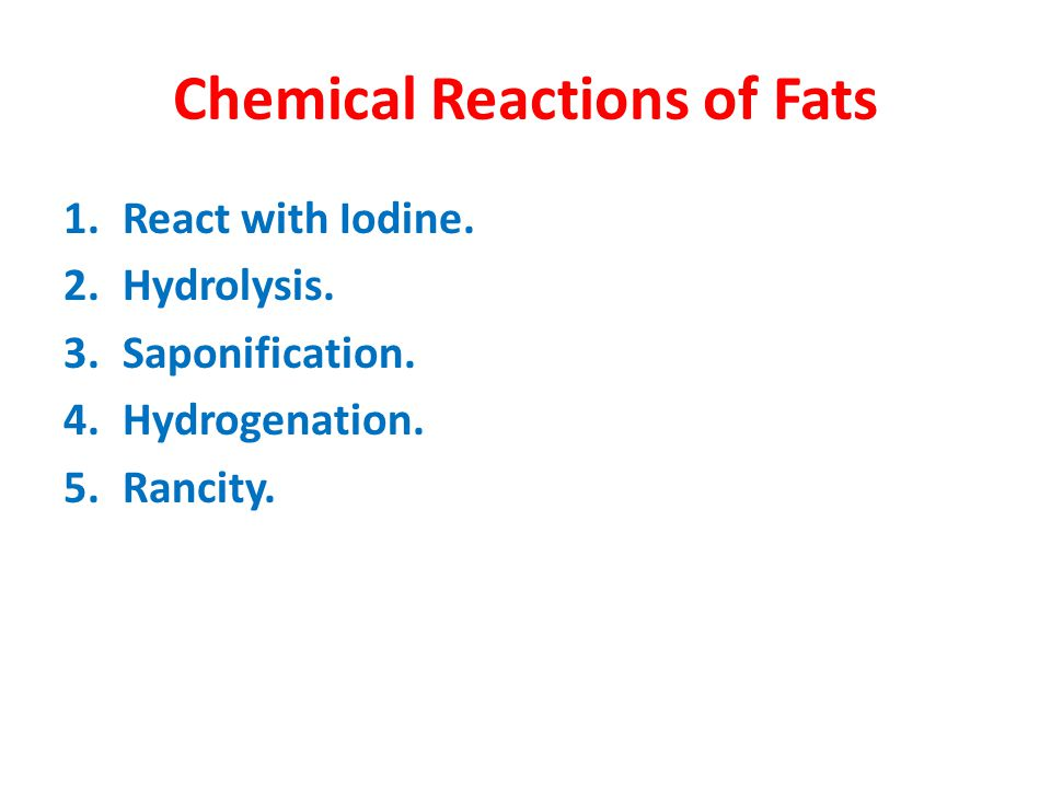 Chemical Reactions of Fats