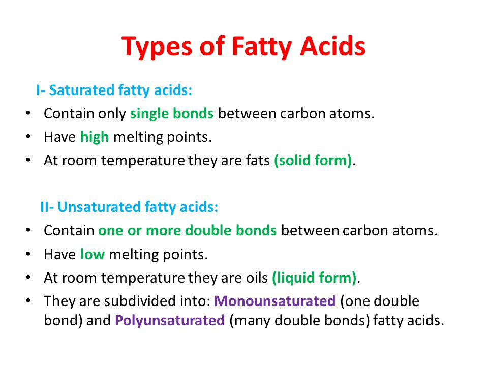 Types of Fatty Acids I- Saturated fatty acids: