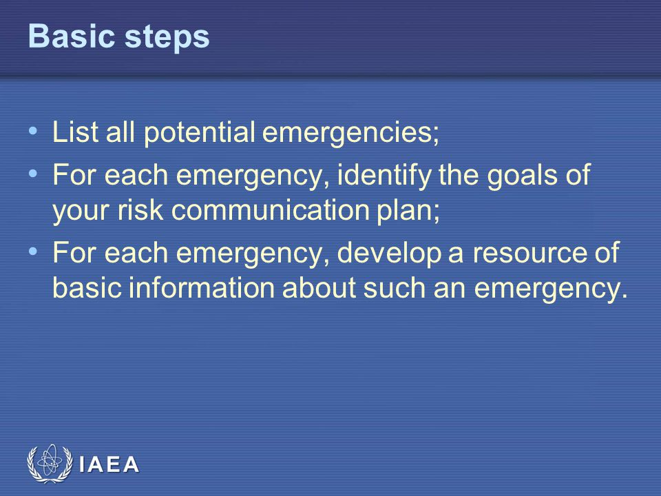 Basic steps List all potential emergencies;