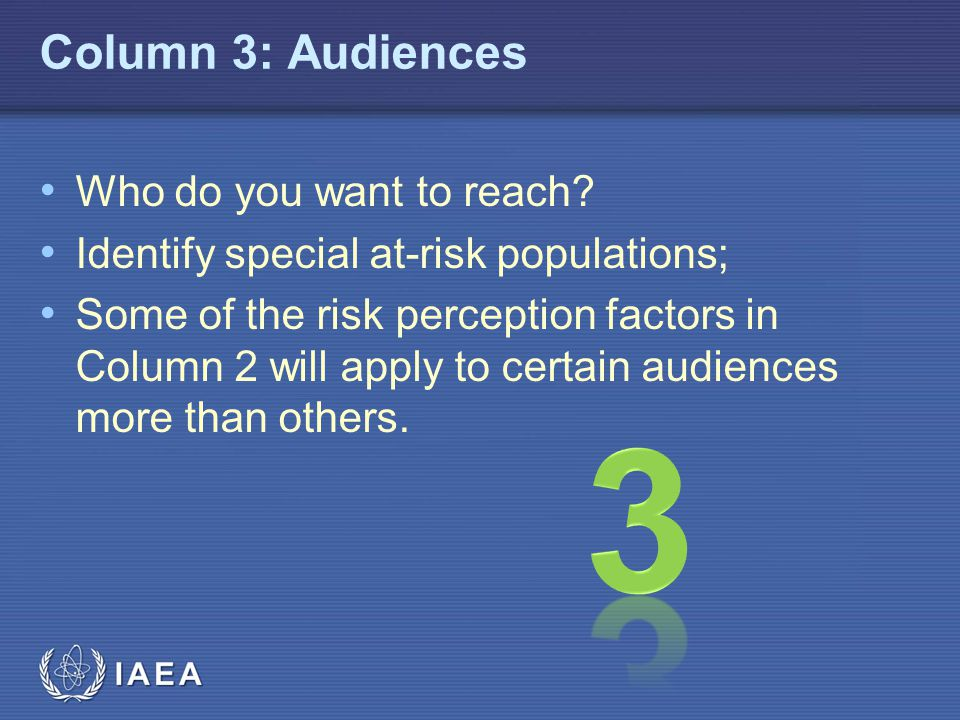 3 Column 3: Audiences Who do you want to reach