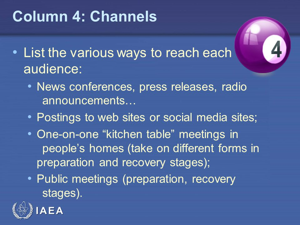 Column 4: Channels List the various ways to reach each audience: