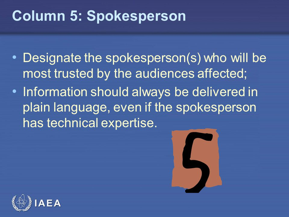 Column 5: Spokesperson Designate the spokesperson(s) who will be most trusted by the audiences affected;