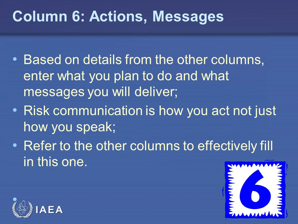 Column 6: Actions, Messages