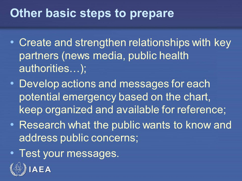 Other basic steps to prepare