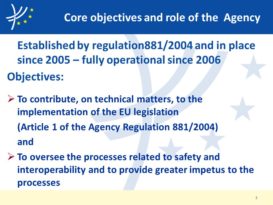 Core objectives and role of the Agency