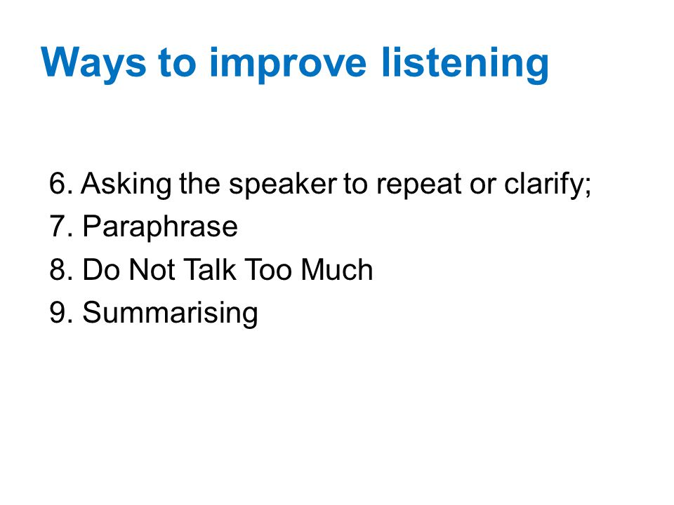Ways to improve listening