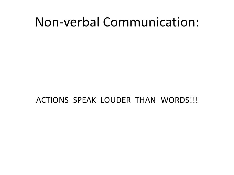 Non-verbal Communication: