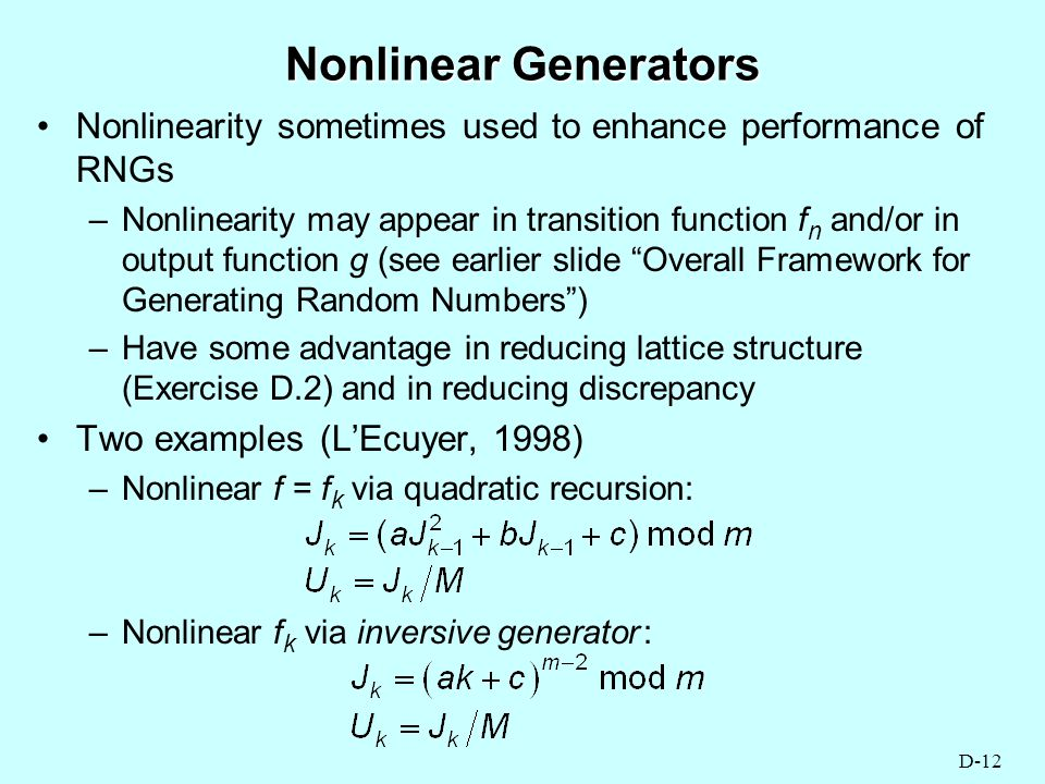 APPENDIX D RANDOM NUMBER GENERATION - ppt download
