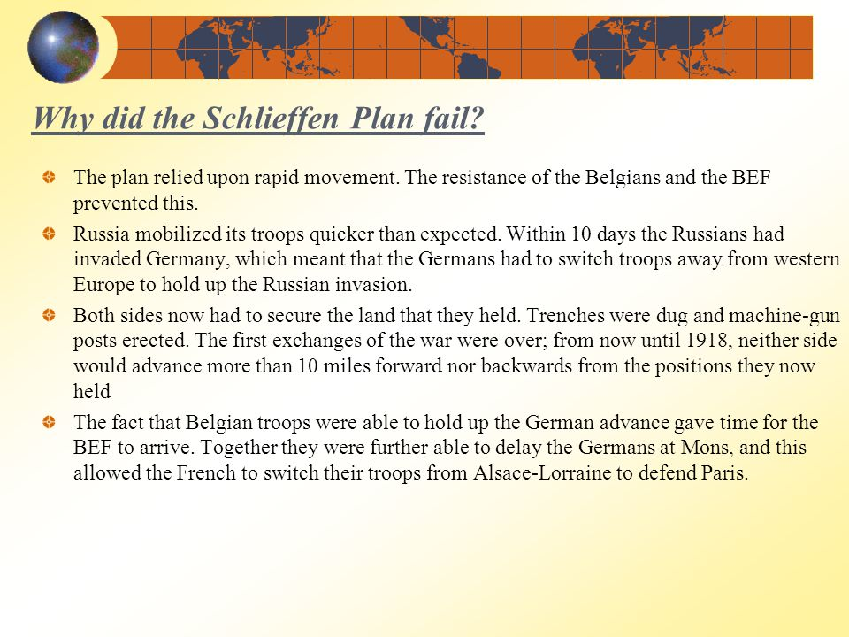 why did the schlieffen plan fail