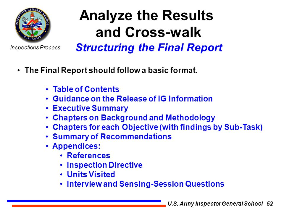 The Inspections Process U S  Army Inspector General School 1