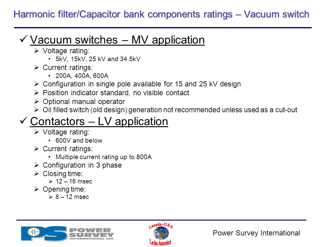Power Survey Application Product Training Ppt Video Online Download Mediumvoltage Switchgear Switching Of Capacitors And Filter Circuits Harmonic Capacitor Bank Components Ratings Vacuum Switch
