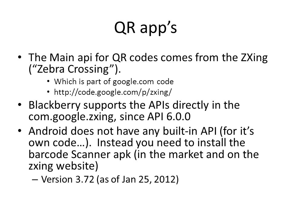 Blackberry and Andriod QR codes - ppt video online download