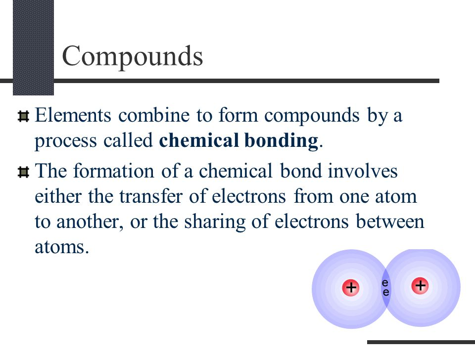 Compounds Elements combine to form compounds by a process called chemical bonding.