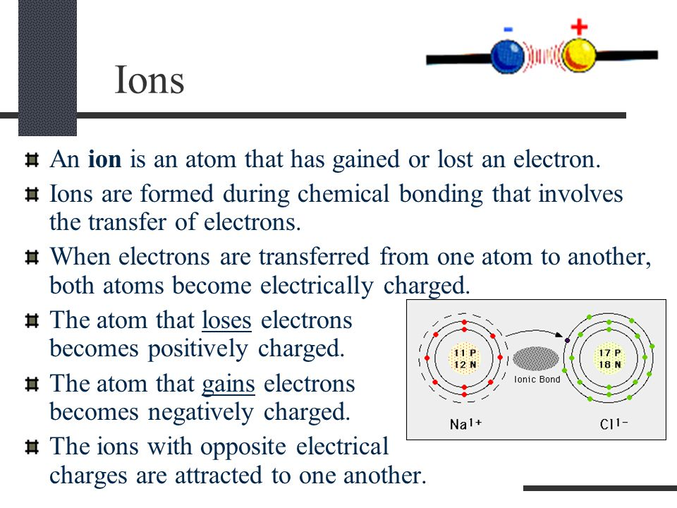 Ions An ion is an atom that has gained or lost an electron.