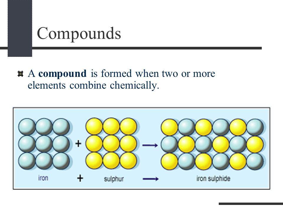 Compounds A compound is formed when two or more elements combine chemically.