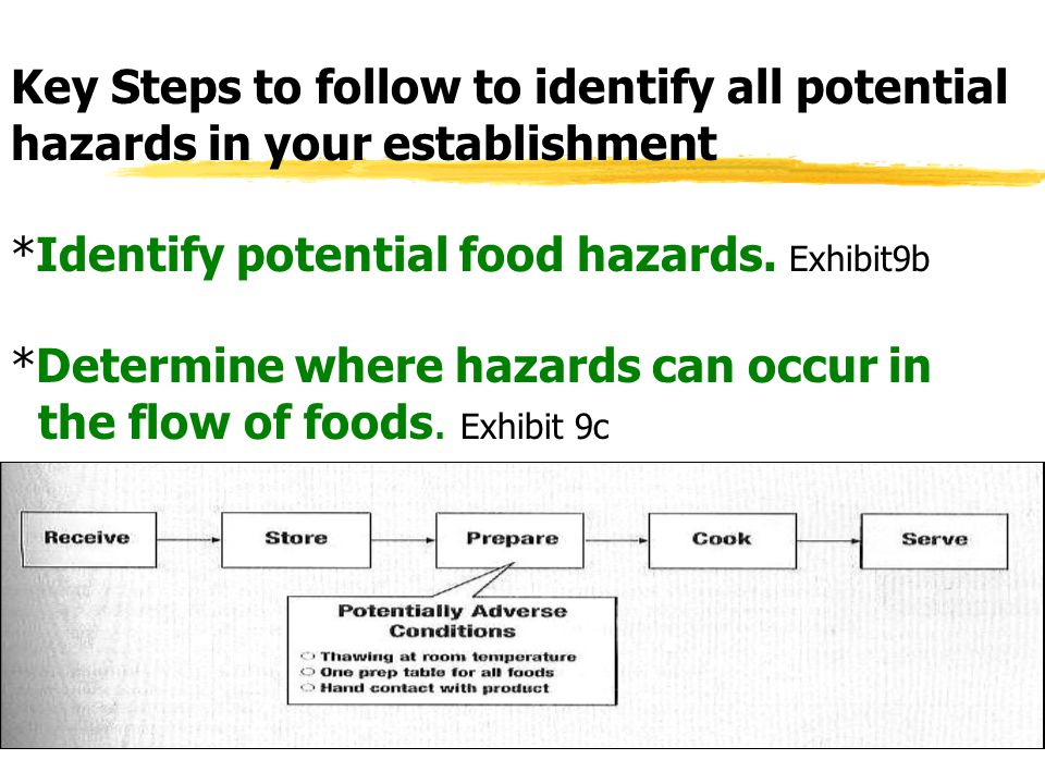 Key Steps to follow to identify all potential hazards in your establishment *Identify potential food hazards.