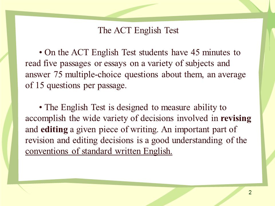 About the ACT English Test - ppt video online download