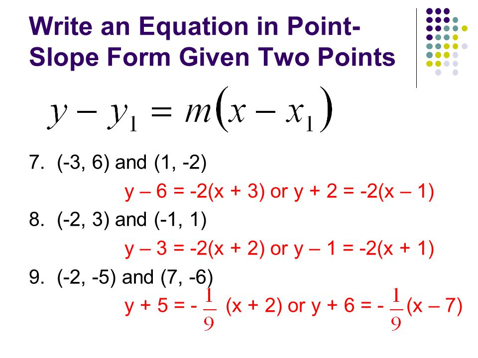 point slope form with 2 points  13.13 Point-Slope Form of a Linear Equation - ppt video online ...