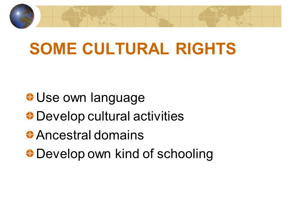 SOME CULTURAL RIGHTS Use own language Develop cultural activities
