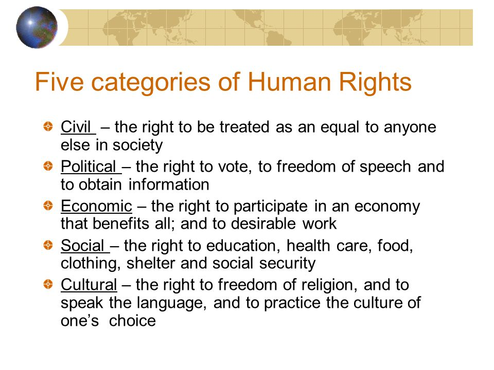 Five categories of Human Rights