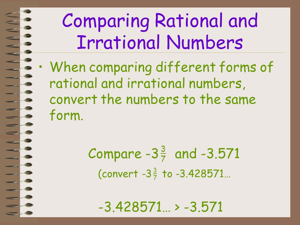 Comparing Rational and Irrational Numbers