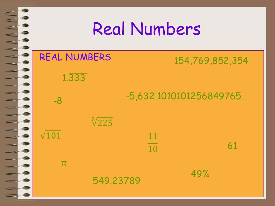 Real Numbers REAL NUMBERS 154,769,852,