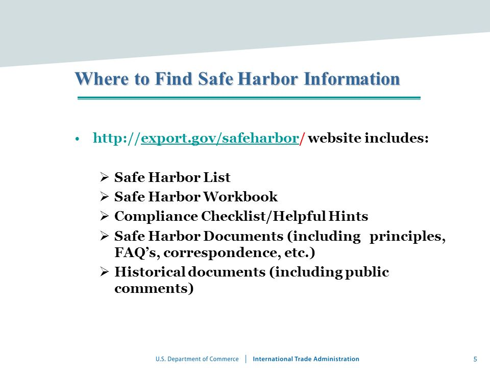 Where to Find Safe Harbor Information