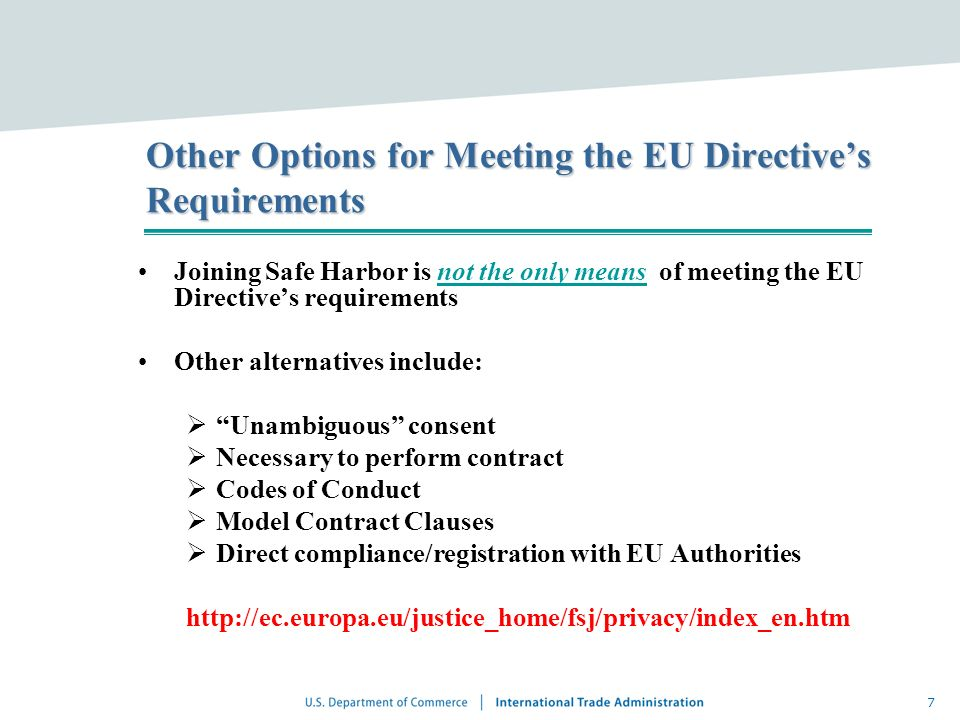 Other Options for Meeting the EU Directive's Requirements