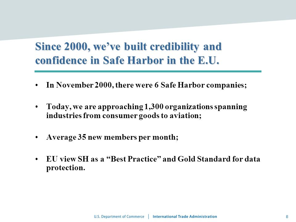 In November 2000, there were 6 Safe Harbor companies;