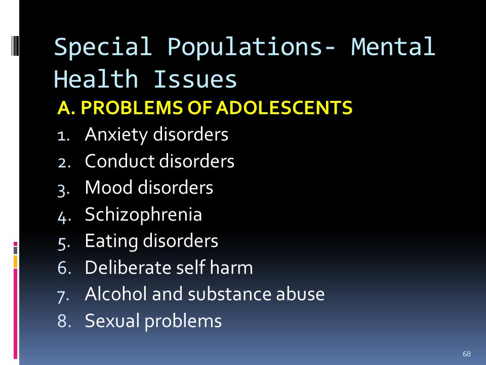 Sexual mental health problems
