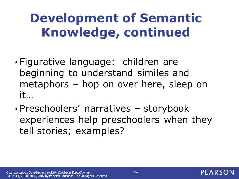 Development of Semantic Knowledge, continued