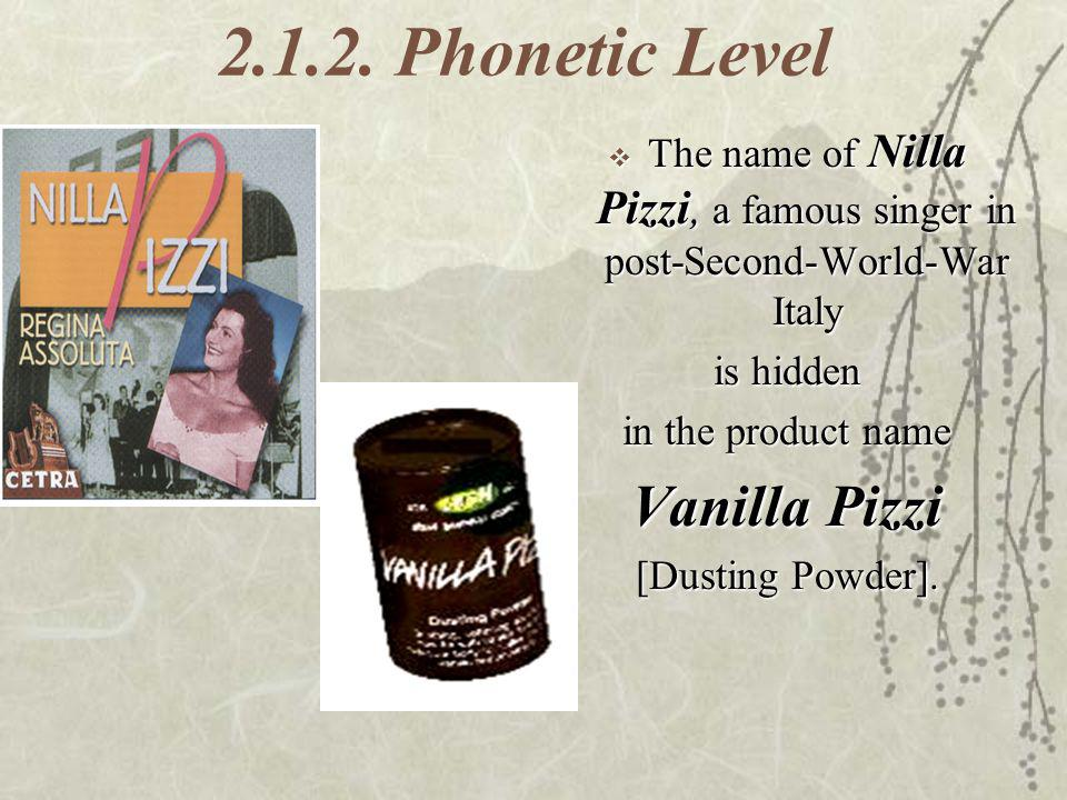 2.1.2. Phonetic Level Vanilla Pizzi