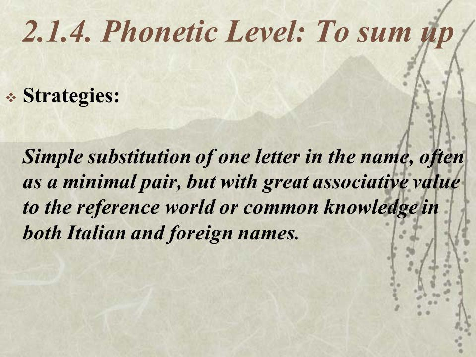 2.1.4. Phonetic Level: To sum up