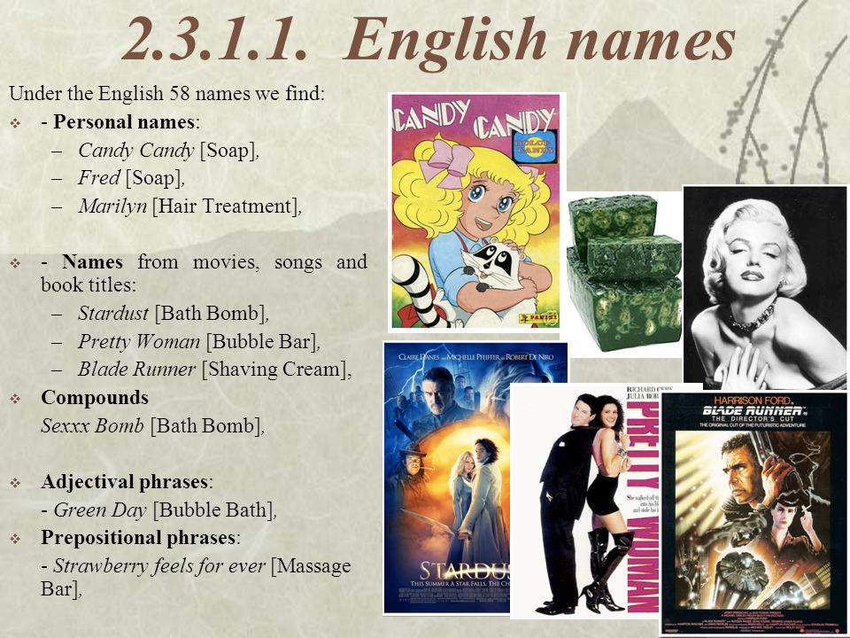 2.3.1.1. English names Under the English 58 names we find: