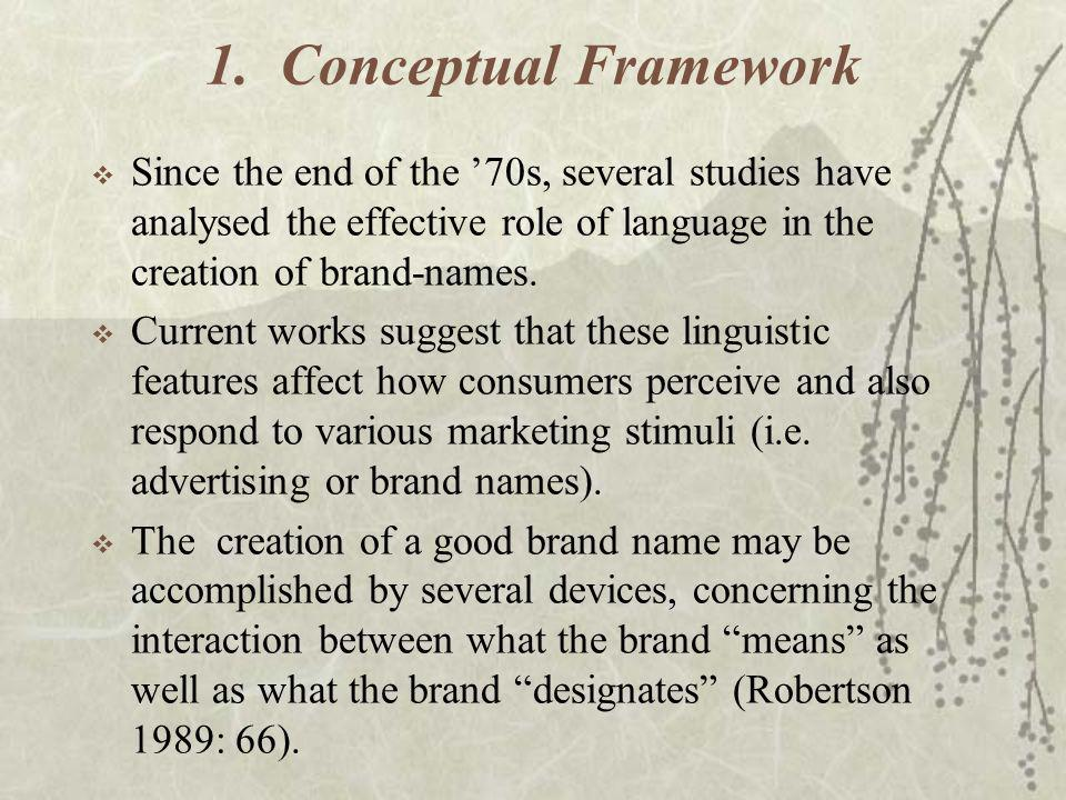 1. Conceptual Framework Since the end of the '70s, several studies have analysed the effective role of language in the creation of brand-names.