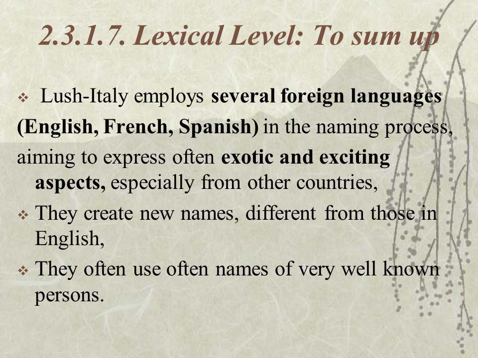 2.3.1.7. Lexical Level: To sum up