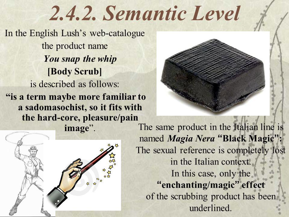 2.4.2. Semantic Level In the English Lush's web-catalogue