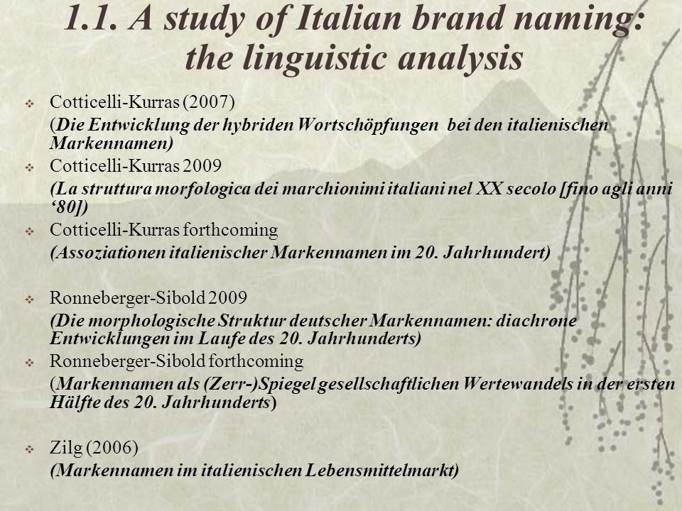 1.1. A study of Italian brand naming: the linguistic analysis