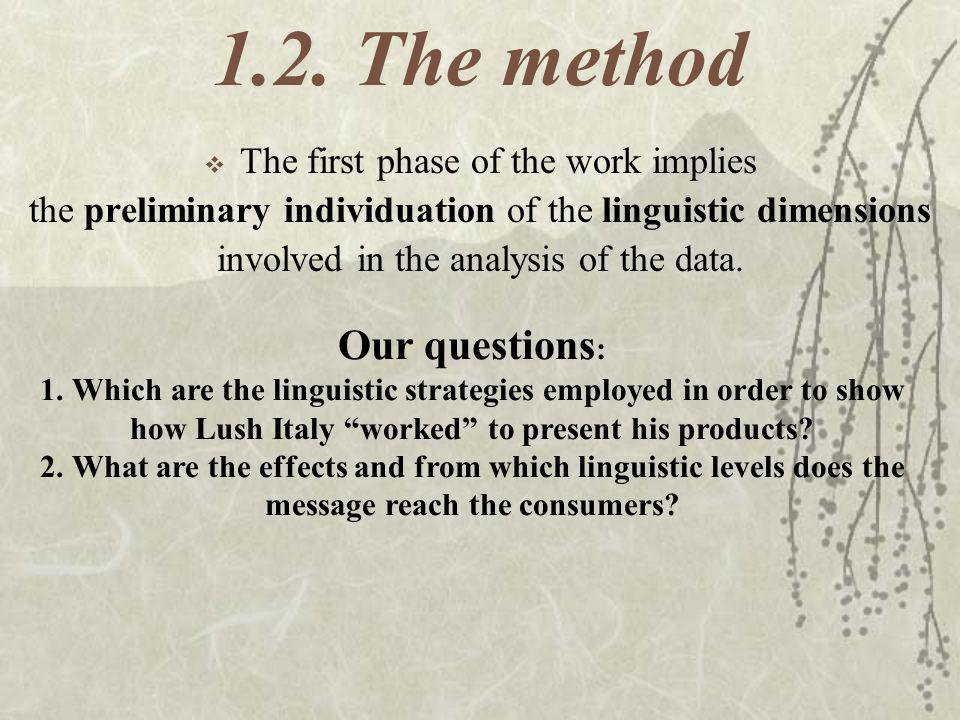 1.2. The method Our questions: The first phase of the work implies
