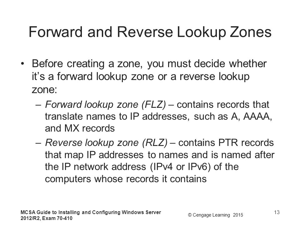 Forward and Reverse Lookup Zones