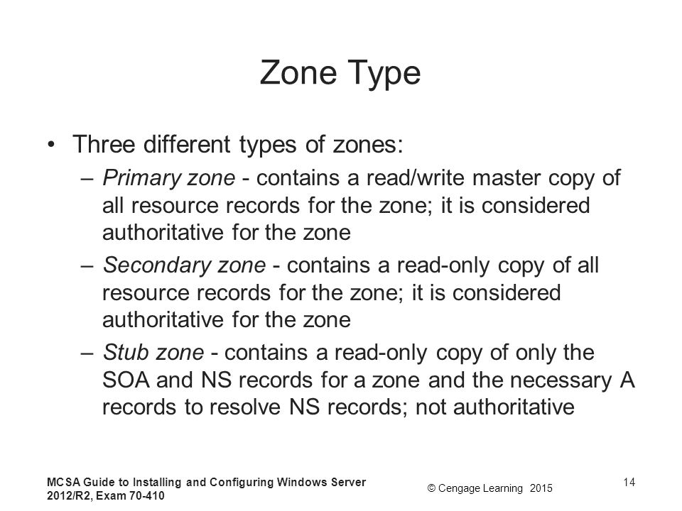 Zone Type Three different types of zones: