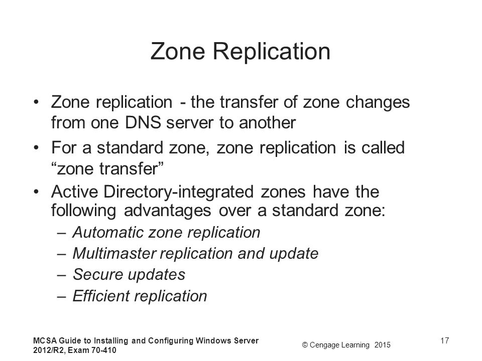 Zone Replication Zone replication - the transfer of zone changes from one DNS server to another.