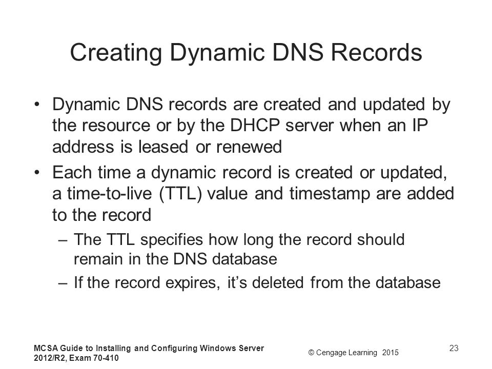 Creating Dynamic DNS Records