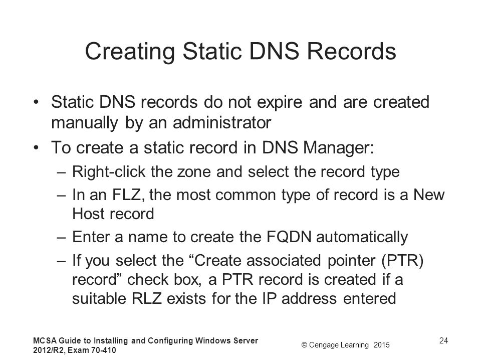Creating Static DNS Records