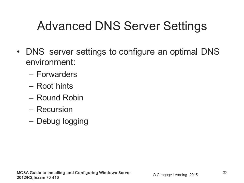 Advanced DNS Server Settings