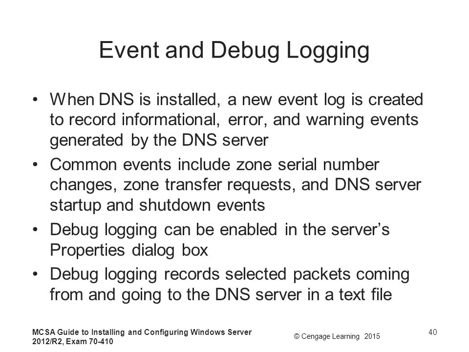 Event and Debug Logging