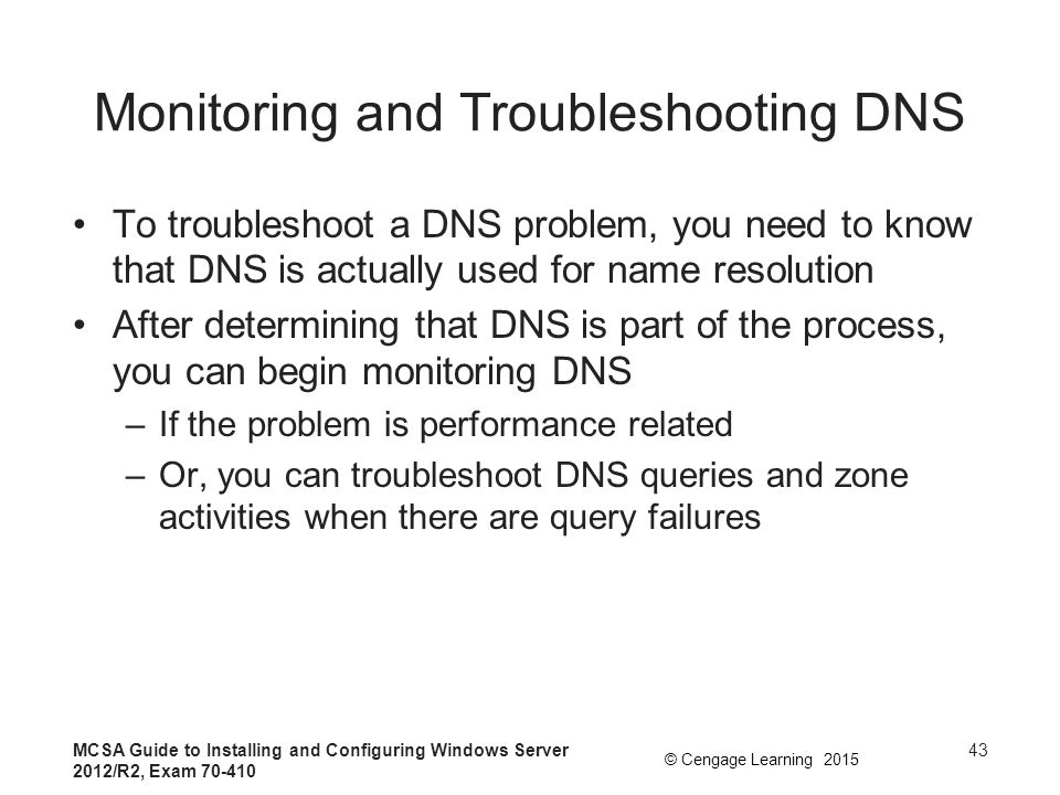 Monitoring and Troubleshooting DNS